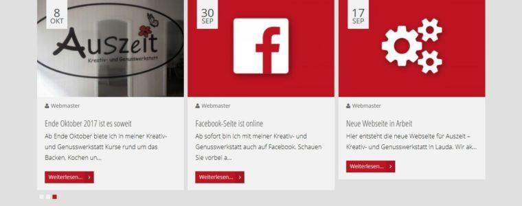 Referenz Web-Design: Webseite für Auszeit – Kreativ- und Genusswerkstatt Lauda