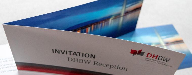 """Referenz Print-Design: Einladungskarte zur DHBW Reception """"Geneva 2018"""""""